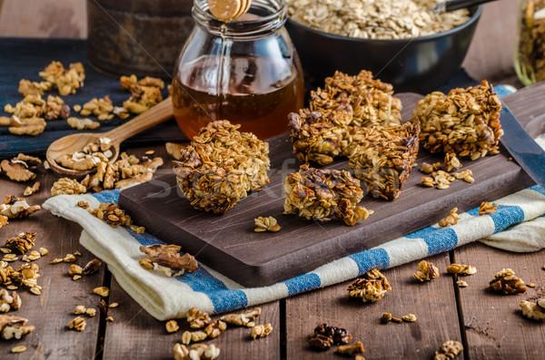 Sült granola diók méz házi finom Stock fotó © Peteer