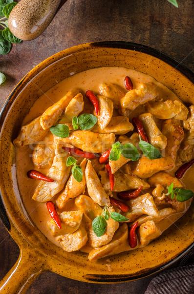 Foto stock: Delicioso · caril · caseiro · pequeno · picante · pimentas