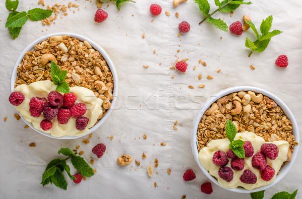 Sült granola puding cukor diók juhar Stock fotó © Peteer