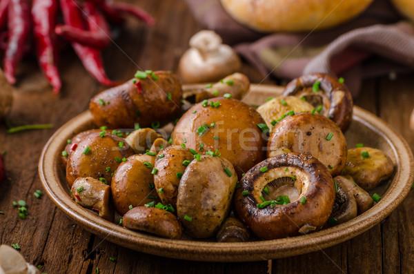 Gombák saláta parmezán majonéz étel háttér Stock fotó © Peteer