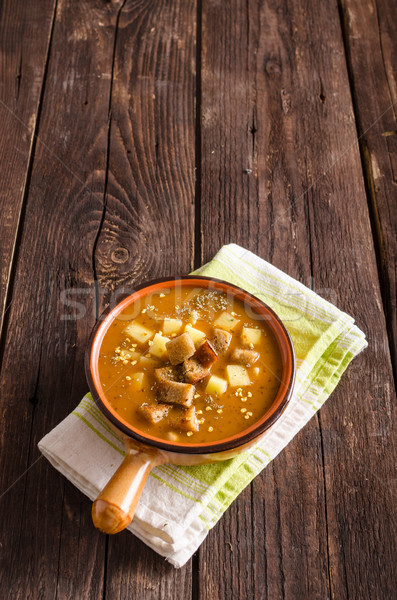 Сток-фото: суп · картофель · продовольствие · фотографии · древесины · фон