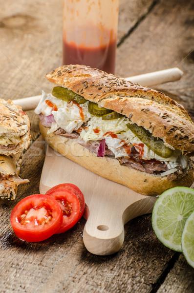 Porc sandwich panini version longtemps Photo stock © Peteer
