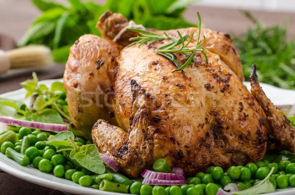 Grelhado orgânico bio frango batatas Foto stock © Peteer