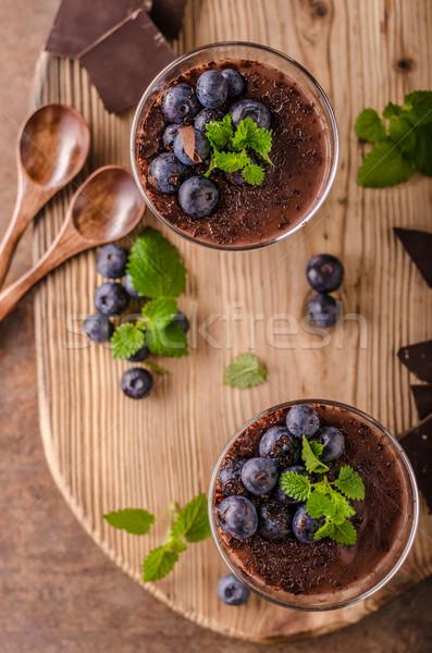 Chocolat pouding baies herbes vintage rustique Photo stock © Peteer