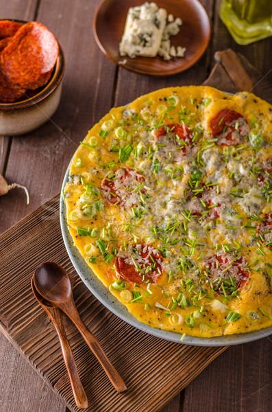 Salame formaggio tipo gorgonzola erbe formaggio sfondo Foto d'archivio © Peteer