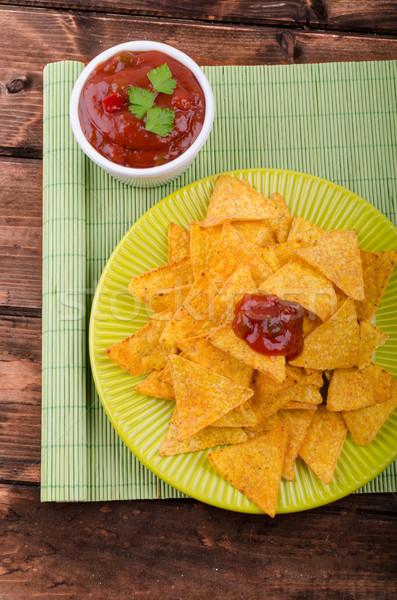 Tortilla chipy pikantny pomidorów salsa jalapeno Zdjęcia stock © Peteer