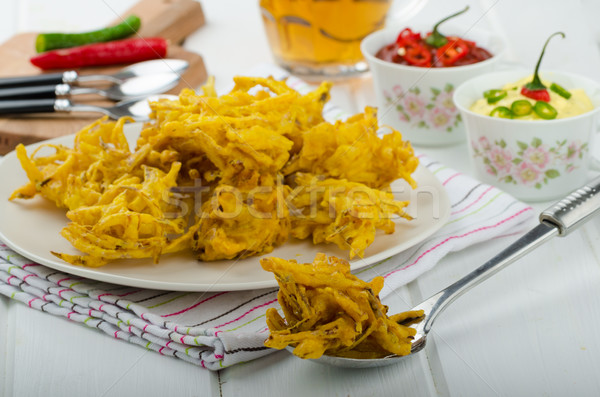 Onion bhajis, czech beer Stock photo © Peteer