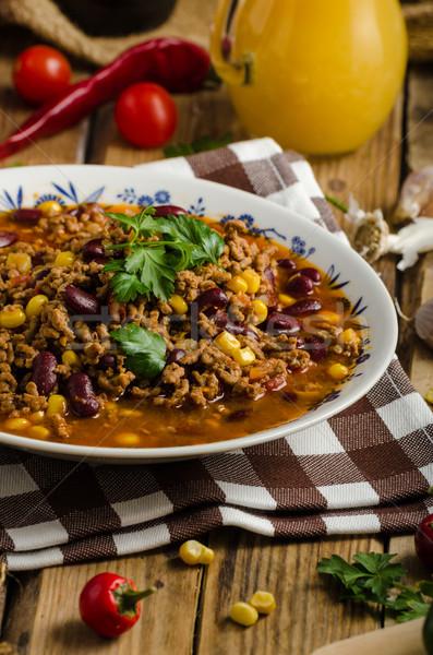 Eredeti chilli sör hús paradicsom bors Stock fotó © Peteer