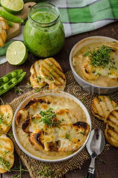 Fokhagyma leves sült pirítós sajt smoothie Stock fotó © Peteer