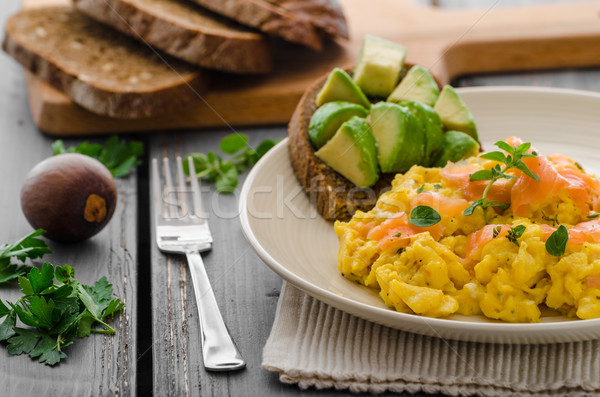 Salmon scrambled eggs and avocado toast Stock photo © Peteer