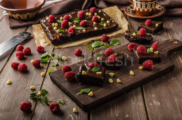 Stock photo: Chocolate brownies with mint