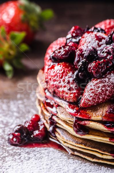 Aardbeien jam esdoorn siroop vruchten chocolade Stockfoto © Peteer