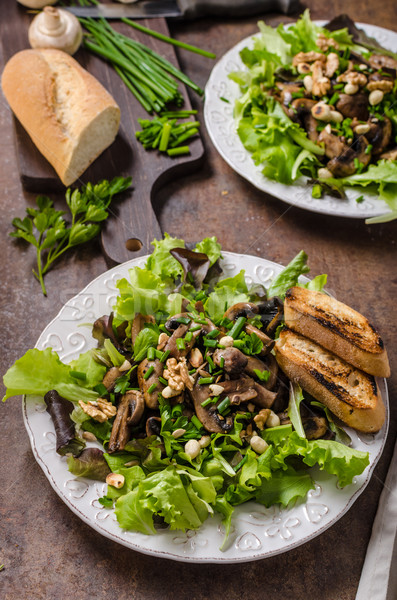Mushroom salad with walnuts Stock photo © Peteer