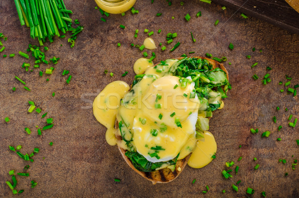 Egg benedict with spinach Stock photo © Peteer