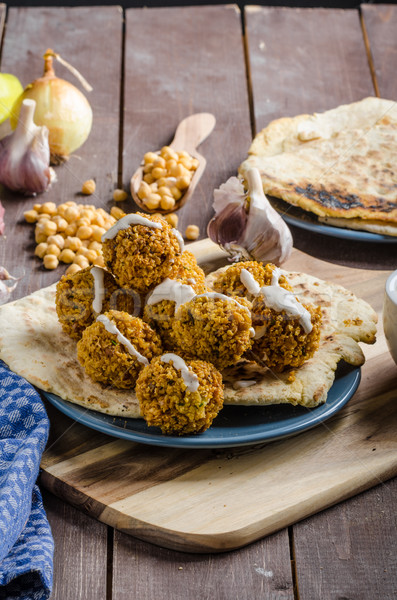 Falafel fried on naan bread Stock photo © Peteer