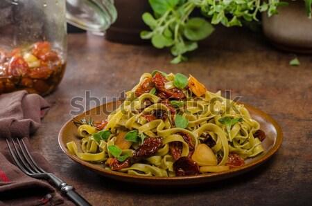 Makarna domates parmesan peyniri İtalyan yemek tablo Stok fotoğraf © Peteer