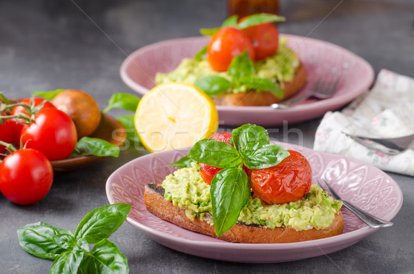 ストックフォト: アボカド · パン · トマト · サラダ · 新鮮な