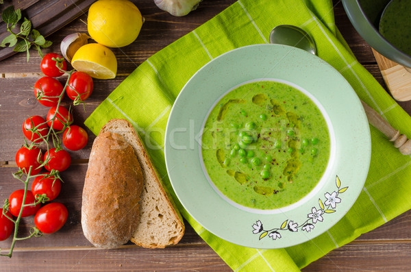 Peas soup with bread Stock photo © Peteer