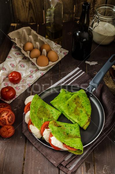 自家製 ほうれん草 詰まった バジル トマト ストックフォト © Peteer