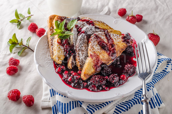 Stock photo: French toast with fruits
