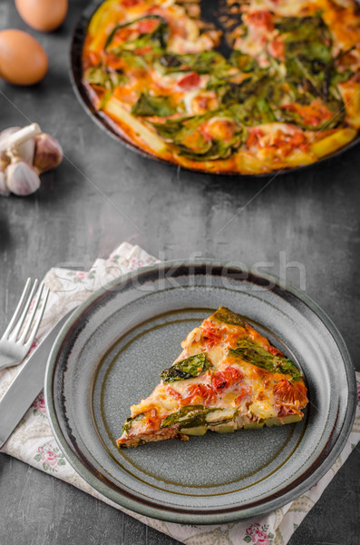 Vegetable frittata in oven Stock photo © Peteer