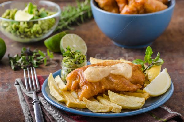 Stok fotoğraf: Balık · cips · ev · yapımı · lezzetli · pesto · plaka