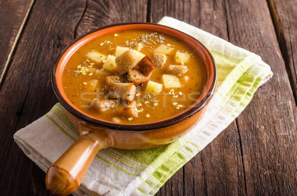 スープ 食品 写真 木材 背景 ストックフォト © Peteer