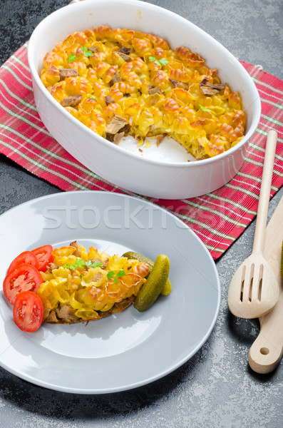 Baked Pasta with pork meat Stock photo © Peteer