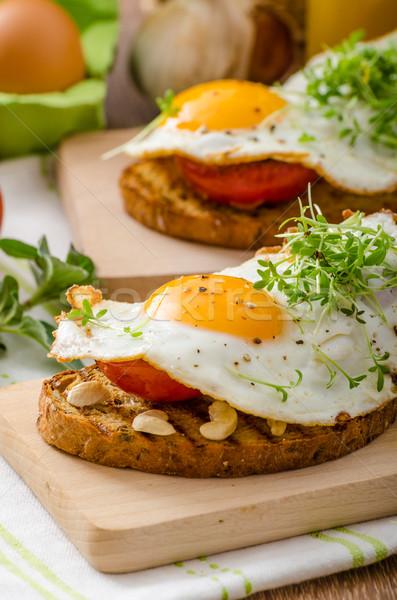 здорового обеда Панини тоста яйцо растительное Сток-фото © Peteer