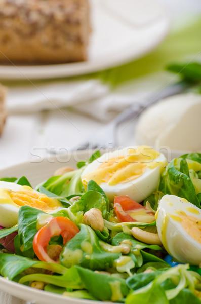Sla salade eieren noten zonnebloem pompoen Stockfoto © Peteer