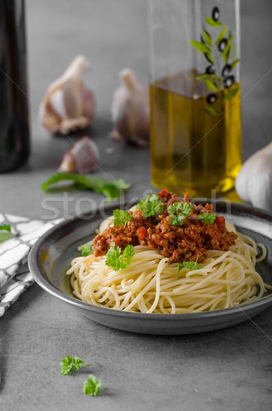 спагетти домашний деревенский фото травы ресторан Сток-фото © Peteer