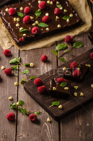Foto stock: Chocolate · de · framboesa · branco · café · bolo