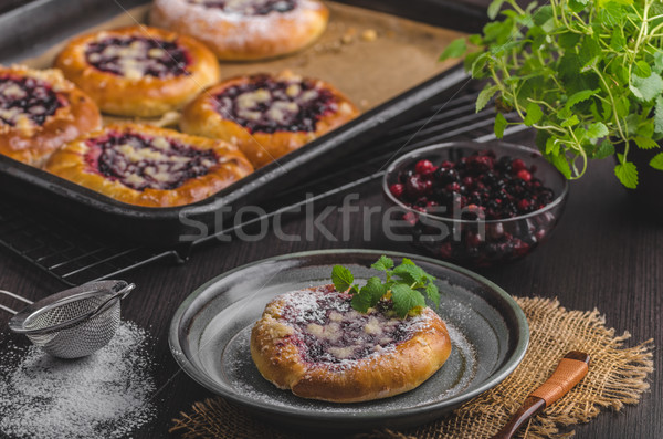 Rustic mini cake with berries and sugar crumble Stock photo © Peteer