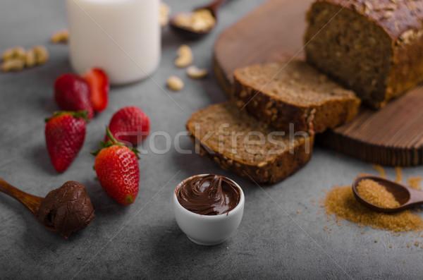 パン 新鮮な イチゴ チョコレート 背景 ストックフォト © Peteer