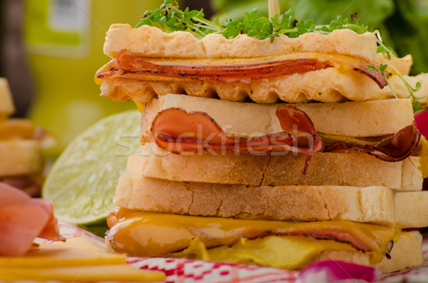 Reuben sandwich with cabbage, beef and spicy dressing Stock photo © Peteer