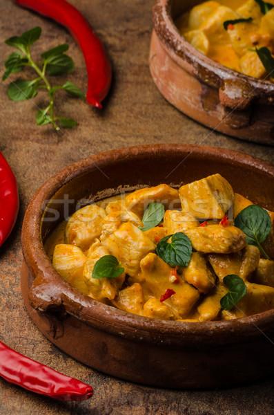Delicioso caril de frango basmati arroz jantar vermelho Foto stock © Peteer