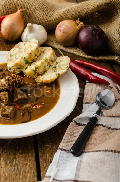 Classic Czech goulash with dumplings Stock photo © Peteer