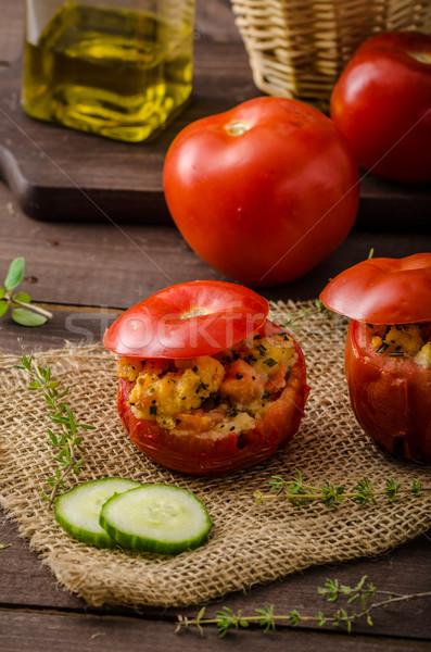 Grillezett paradicsomok töltött gyógynövények salsa összes Stock fotó © Peteer