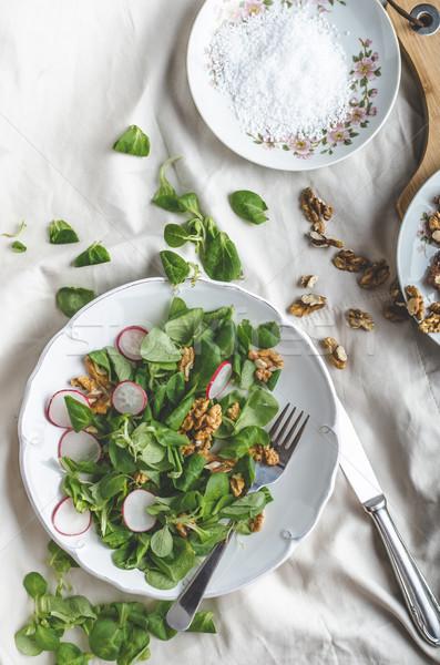 Sla salade radijs eenvoudige heerlijk voedsel Stockfoto © Peteer