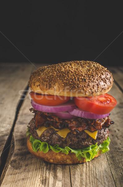 American rustic burger Stock photo © Peteer