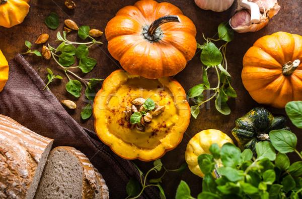Сток-фото: сливочный · тыква · суп · свежие · хлеб · Хэллоуин
