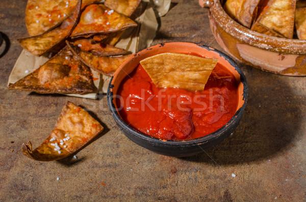Casero nachos tortilla frito caliente salsa Foto stock © Peteer