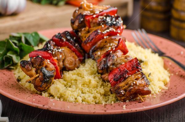 Chicken skewers say sauce Stock photo © Peteer