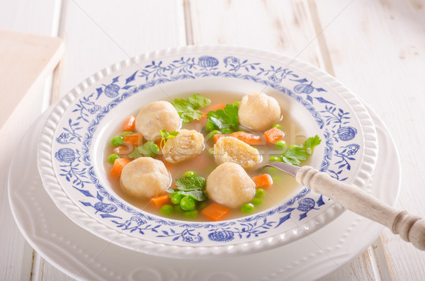 Spring chicken soup noodles, vegetable and toast Stock photo © Peteer