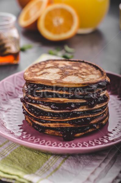 Pancakes strawberry, sugar and jam Stock photo © Peteer