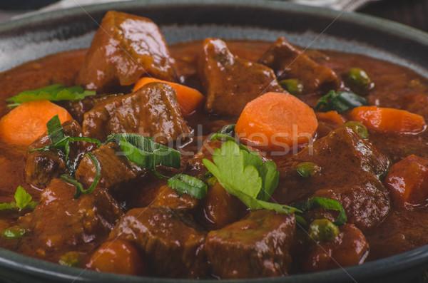 Carne guisada cenouras comida fotografia ervas dentro Foto stock © Peteer