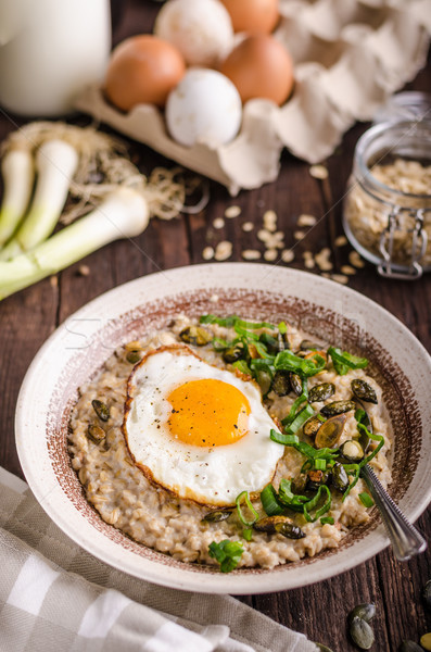 oatmeal salty with spring onion and egg Stock photo © Peteer