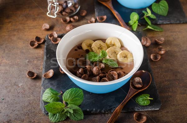Czekolady pudding bananów zioła żywności fotografii Zdjęcia stock © Peteer