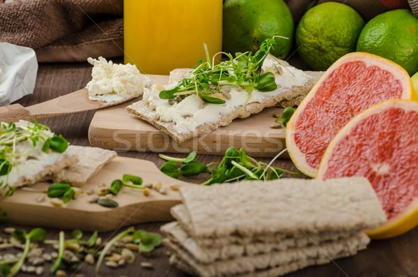 здорового завтрак органический кремом сыра свежие Сток-фото © Peteer