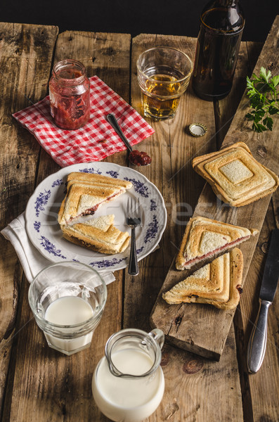 Stock photo: Old Bohemian toast with jam and beer